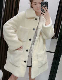 Fashion White Fleece Single-breasted Multi-pocket Coat