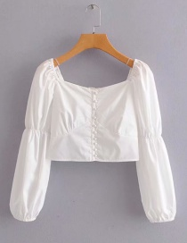 Fashion White Small Elastic Shirt On The Back