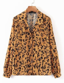 Fashion Ginger Yellow Leopard Single-breasted Long-sleeved Shirt