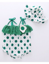 Fashion Green Polka Dot Printed Egg Baby Onesies (with Hat)