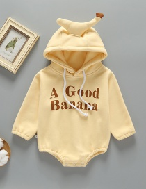 Fashion Yellow Banana Style Letter Print Plus Velvet Hooded Jumpsuit