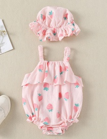 Fashion Pink Strawberry Printed Triangle Strap Baby One-piece Dress