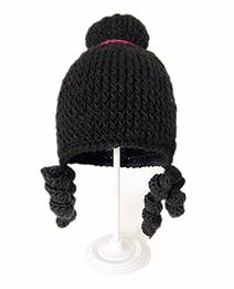 Fashion Black Crochet Wig Princess Hat