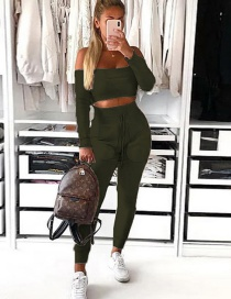 Fashion Army Green Off-the-shoulder Collar Short Top + Long Pants Suit