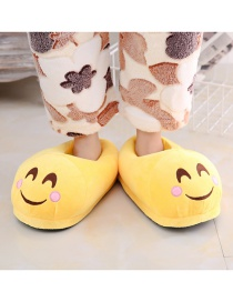 Fashion 18 Yellow Blush Cartoon Expression Plush Bag With Cotton Slippers