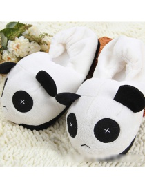 Fashion Black Cartoon Panda Plush Bag With Cotton Slippers