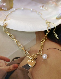 Fashion Gold Love Pearl Circle Chain Bracelet
