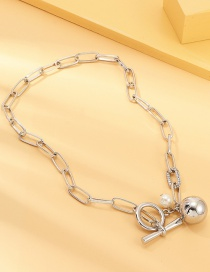Fashion Silver Ball Pearl Diamond Necklace