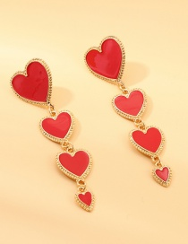 Fashion Red Alloy Drop Oil Love Earrings