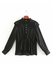 Fashion Black Pleated Laminated Shirt