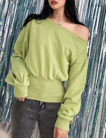 Fashion Fruit Green Slanted Shoulder Collar Sweater