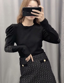 Fashion Black Bright Sleeve Stitching Round Neck Pullover