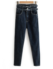 Fashion Blue Black Washed Double Belt High Waist Elastic Feet Jeans