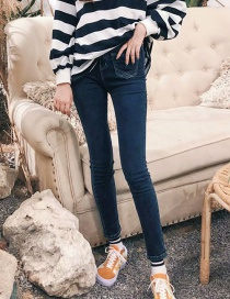 Fashion Blue Black Washed Front Double Pocket High Waist Stretch Feet Jeans