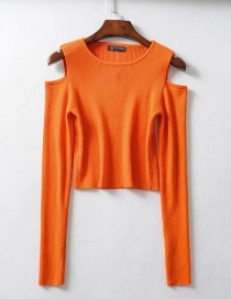 Fashion Orange Off-the-shoulder Long Sleeve Pullover