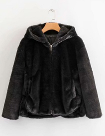 Fashion Black Hooded Fur Zip Coat