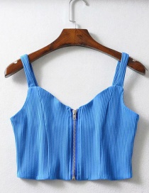 Fashion Blue Zippered Knit Vest