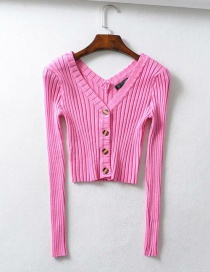 Fashion Rose Red Knit V-neck Single-breasted Sweater