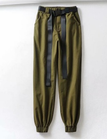 Fashion Green Contrast Tie Straight Pants