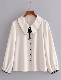 Fashion White Pearl Lapel Edging Shirt