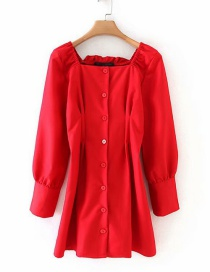 Fashion Red Square Collar Buckled Waist Dress