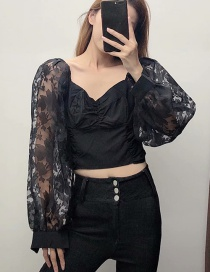 Fashion Black Organza Pleated Pleated Shirt