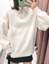 Fashion Apricot Zipper Turtleneck Sweater
