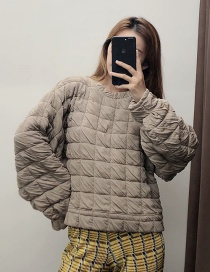 Fashion Light Khaki Quilted Round Neck Sweater