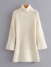 Fashion White Woven Turtleneck Dress