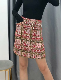 Fashion Pink Beaded Plaid Stitching Skirt