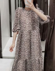 Fashion Leopard Floral Print Crew Neck Dress