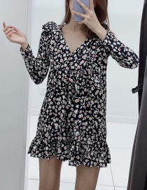 Fashion Black Floral Print V-neck Ruffle Dress