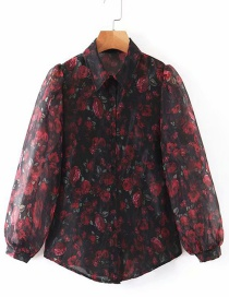 Fashion Black Perspective Mesh Flower Print Shirt