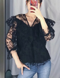 Fashion Black Flower Print Net Pullover Shirt