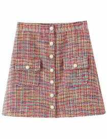 Fashion Color Pearl Buckle Plaid Stitch Skirt
