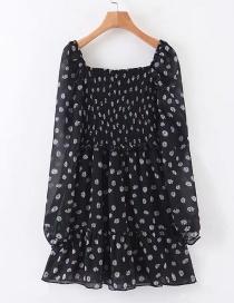 Fashion Black Chiffon Floral Pleated Dress