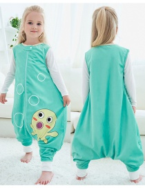 Fashion Green Bubble Octopus Sleeveless Flannel Baby One-piece Home Service