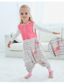 Fashion Striped Crane Sleeveless Flannel Baby One-piece Home Service