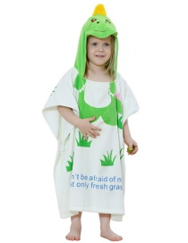 Fashion White-green Frog Cartoon Hooded Wool Print Children's Bathrobe