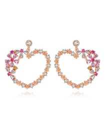 Fashion Rose Gold-t04b20 Copper Inlaid Zirconium Heart Earrings