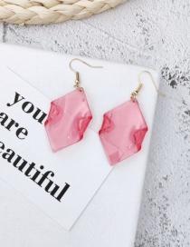 Fashion Watermelon Red Geometric Transparent Acrylic Earrings