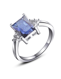 Fashion Real Platinum + Navy Blue Zircon Zircon Ring