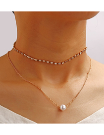 Fashion Gold Single Row Of Artificial Pearl Necklace