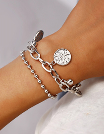 Fashion Silver Life Tree Alloy Double Bracelet
