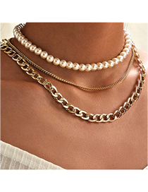 Fashion Gold Pearl Chain Three-layer Necklace