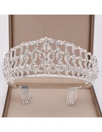 Fashion Silver Large Crystal Crown Headband