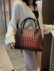 Fashion Coffee Color Crocodile Pattern Shoulder Bag