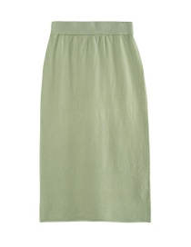 Fashion Green Solid Color Knit Skirt