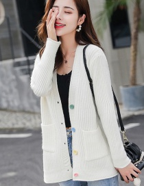 Fashion White Color Button Knit Cardigan