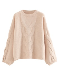 Fashion Flesh Pink Large Twisted Eight-head Sweater